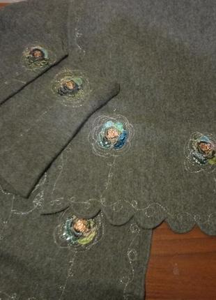 Красивый шерстяной шарф/платок с нарукавниками
