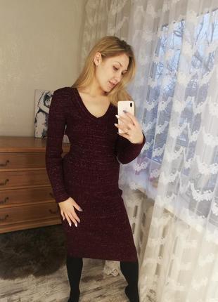 Платье рубчик, платье резинка, платье гольф, платье миди