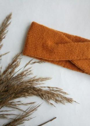 Повязка на голову ручной работы, повязка вязаная, теплая, базо...