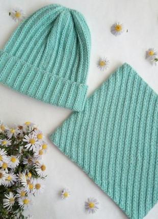 Комплект з шапки та снуда на зиму, шапка ручной работы!