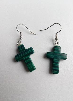 Серьги кресты, сережки крестики, натуральный камень, сережки х...