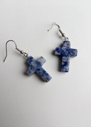 Серьги кресты, сережки крестики, сережки натуральный камень, с...