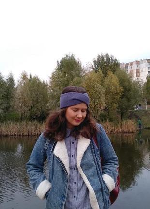 Повязка на голову ручной работы цвет синий джинс, повязка базо...