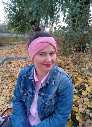 Повязка на голову ручной работы, вязаная, базовая, розовая, на...
