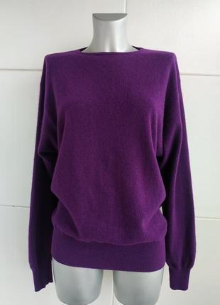 Стильный шерстяной свитер benetton фиолетового цвета