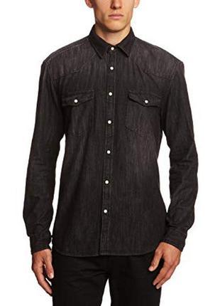 Крутая рубашка деним из стираного джинса