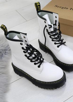 Белые ботинки мартинсы,ботинки в стиле dr. martens,высокие бот...