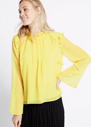 Новая желтая блузка с оборками marks&spencer нежно-желтая блуз...
