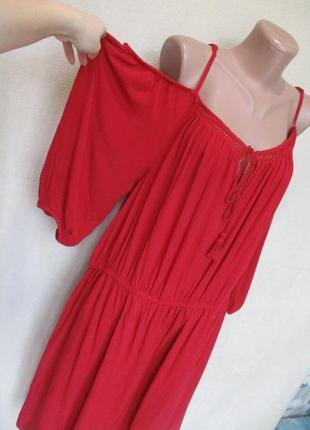 Вискозное платье с открытыми плечами/ткань жатка/ батал