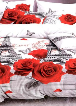 Постельное белье розы и париж