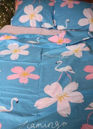 Постельное белье фламинго с цветами
