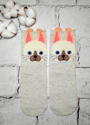 Носки женские хлопковые с ушками, мордочки Кошка