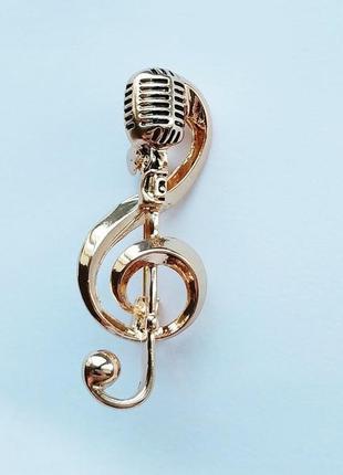 Брошь скрипичный ключ с микрофоном 40 мм*15 мм.