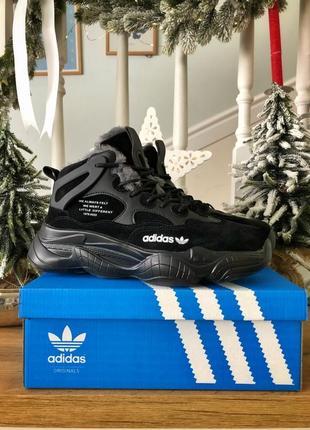 ❄️зимние adidas yeezy 500 black❄️мужские чёрные высокие кроссо...