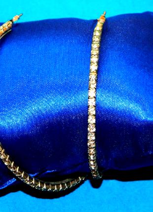 Серьги кольца под серебро с кристаллами swarovski 💎 диаметр 4 см