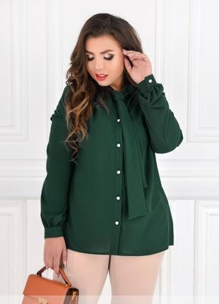 Блуза батал темно-зеленая (размеры 50,52,54,56,58,60)