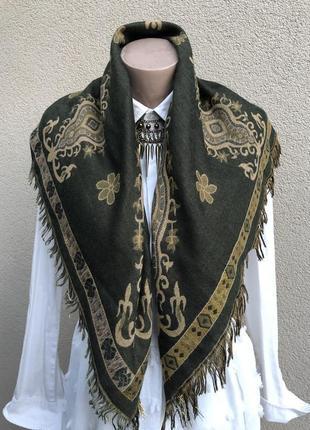Тёплый платок,косынка с бахромой,двухсторонняя,шерсть,эксклюзив