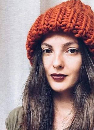 -60% зима 2020! женская шапка бини щерсть мериноса