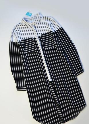 Платье рубашка в полоску с длинным рукавом
