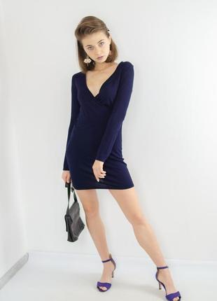 Missguided темно синее облегающее мини платье на запах, коротк...