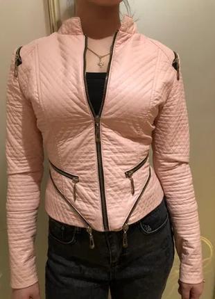 Куртка из искусственной кожи, цвет-пудра