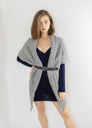 Zara серый шерстяной меланжевый кардиган, накидка с примесью ш...
