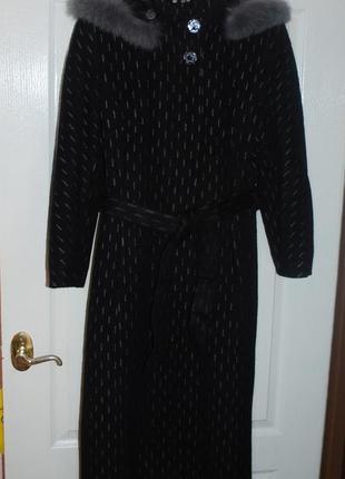 Теплое женское кашемировое пальто осень-зима р. 46 р. м