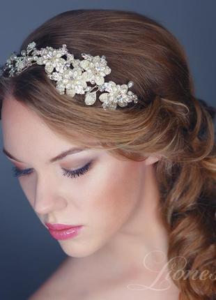 Свадебный ободок с жемчугом и кристаллами swarovski аурелия