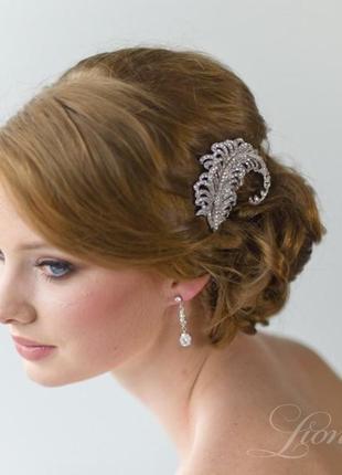 Гребешок синем . украшение для волос. гребень свадебный