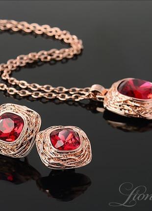 Позолоченный набор бижутерии с красными кристаллами swarovski ...
