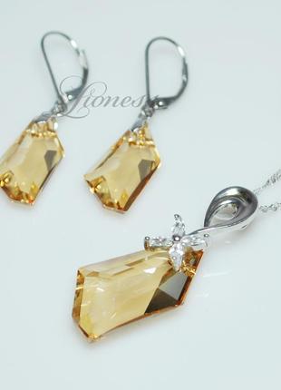 "Набор бижутерии swarovski ""золотые кристаллы"""