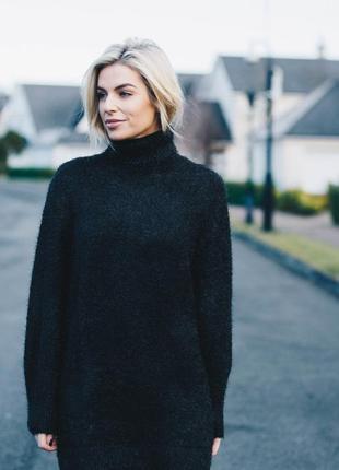 Тёплое пушистое вязаное платье травка h&m/ длинный свитер овер...