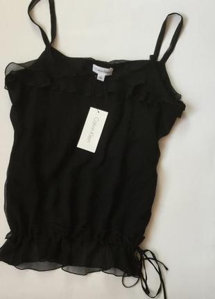 Блуза фирменная шёлковая топ оригинал calvin klein размер s