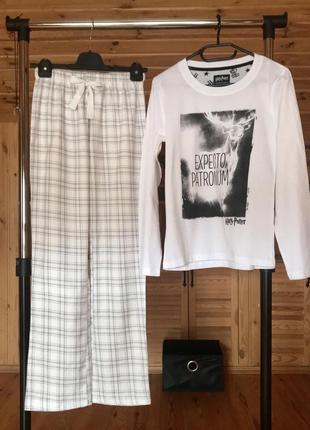 Коттоновая женская пижама, трикотажный лонгслив+штаны байка, ф...