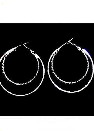 Оригинальные двойные серьги кольца asos под серебро, с филигра...