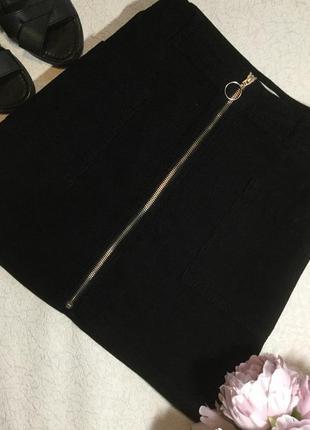 Юбка вельветовая трапеция на молнии topshop 14 размер