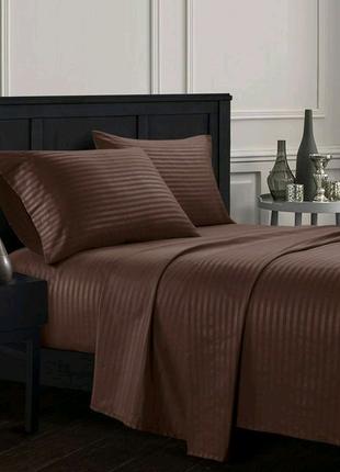 Хлопковое постельное белье сатин страйп темно коричневый