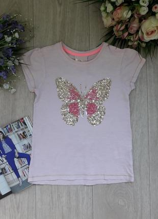 Модная футболка с паетками в виде бабочки 7-8 лет dimension