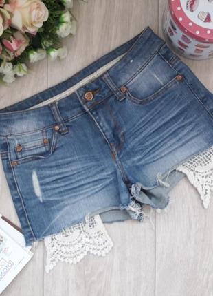 Классные джинсовые шорты с кружевом denim хс(8)