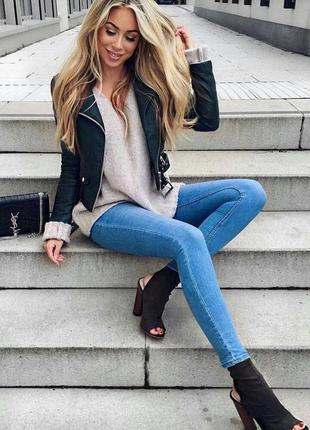 Узкие голубые джинсы ххс(24-25) zara