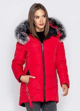 Женская зимняя куртка в красном цвете с пышным мехом/осень/зим...