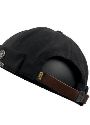 Байкерская кепка черная docker geegen domog huf с кожаным реме...