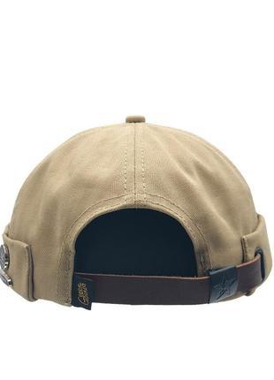 Байкерская кепка docker geegen domog huf с кожаным ремешком