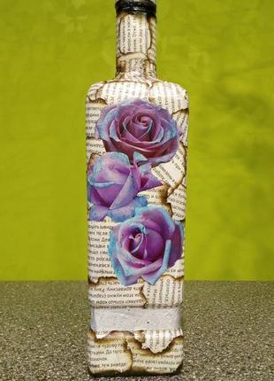 Красивая бутылка для декора
