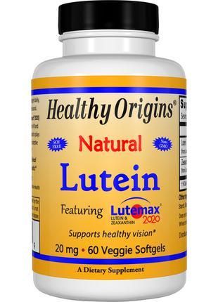 Лютеин 20мг, Healthy Origins, 60 желатиновых капсул