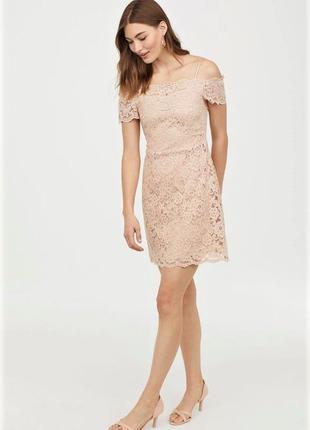 Кружевное платье с открытыми плечами h&m
