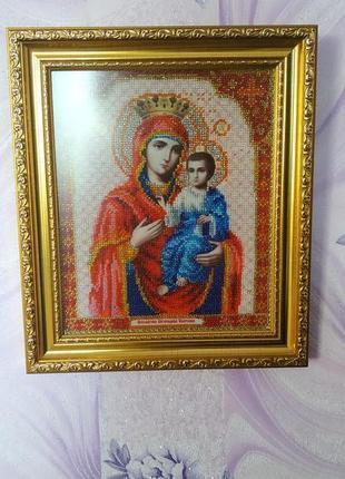 Икона - Пресвятая Богородица Иверская | Ручная работа бисером
