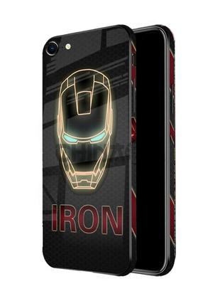 Чехол стеклянный IRON MAN для iPhone 7/7+/8/8+/X/Xr/XS/XS Max