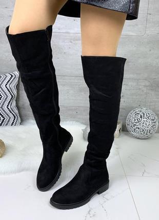 Демисезонные ботфорты на низком каблуке