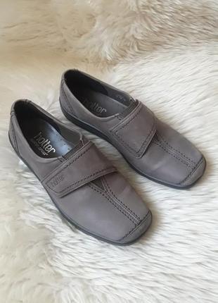 Кожаные туфли на липучке hotter 37 размер англия!
